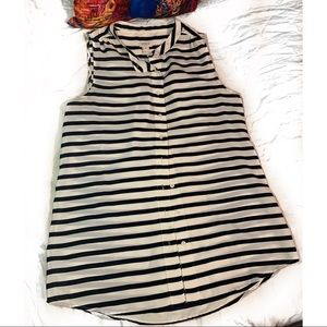 J. Crew Striped Button Down Silky Top Size-8